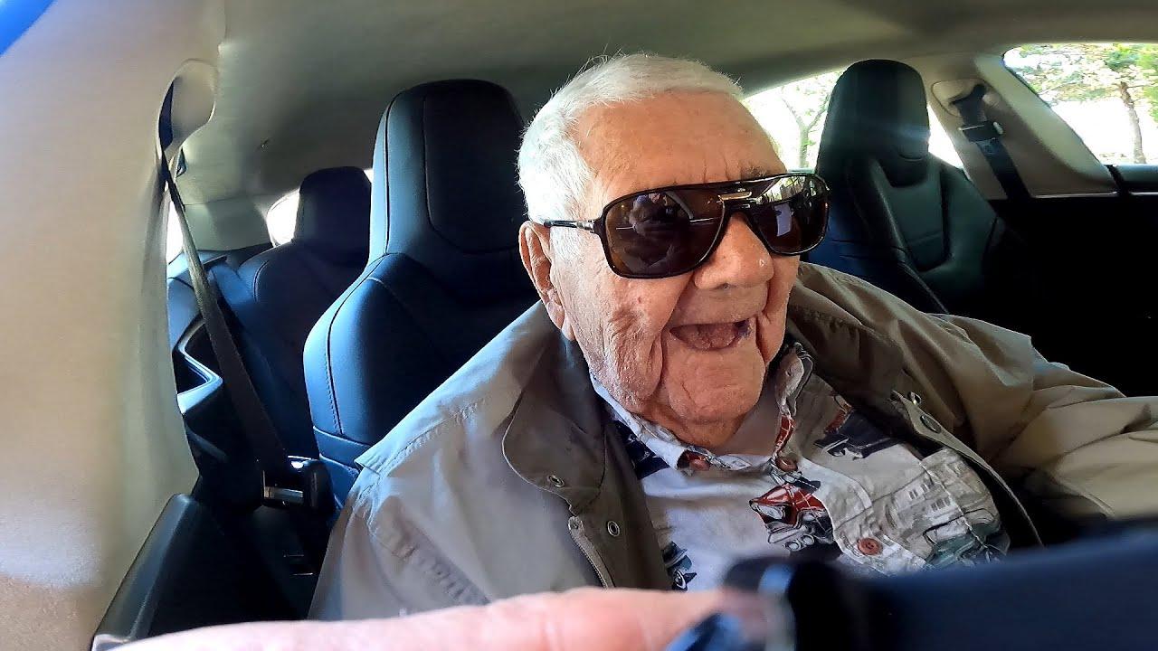 WW II Vet - 100th Birthday Ride In Model T That Breaks Down & 101st Birthday Ride In Tesla