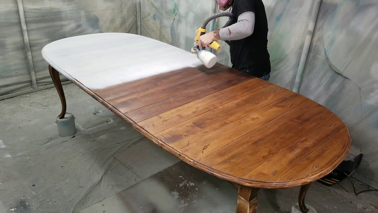 Painting A Solid Wood Dining Table With Wood Stain Glazing For A Client Youtube