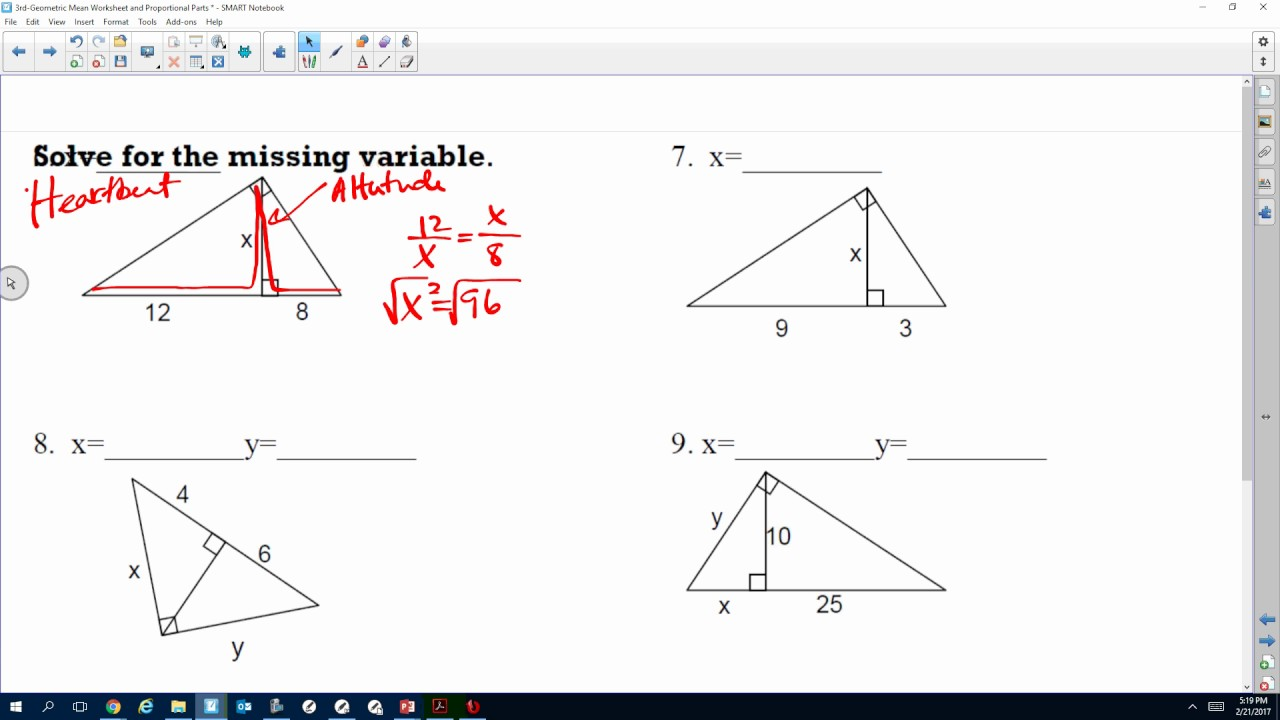 Geometric Mean Worksheet #'s 1-11 - YouTube