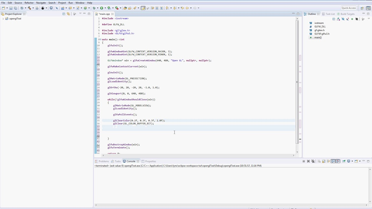 Creating a simple OpenGL program in Eclipse with MinGW : Video 3