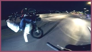 MOTORCYCLE ACCIDENT Dirt Bike Rider WRECKS On HIGHWAY At Night Stunt Fails 2016