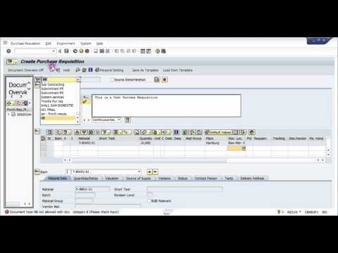 How to create a Purchase Requisition  in SAP -  SAP MM Basic Video