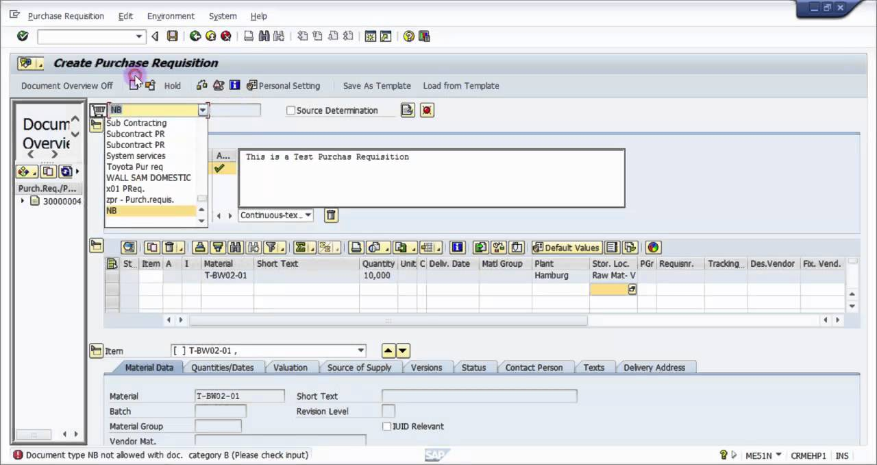 How To Create A Purchase Requisition In Sap Sap Mm Basic