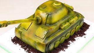 "Подарок ""танкисту""🎁. 3D торт ТАНК😊 ( English Subtitles ) - Я - ТОРТодел!"