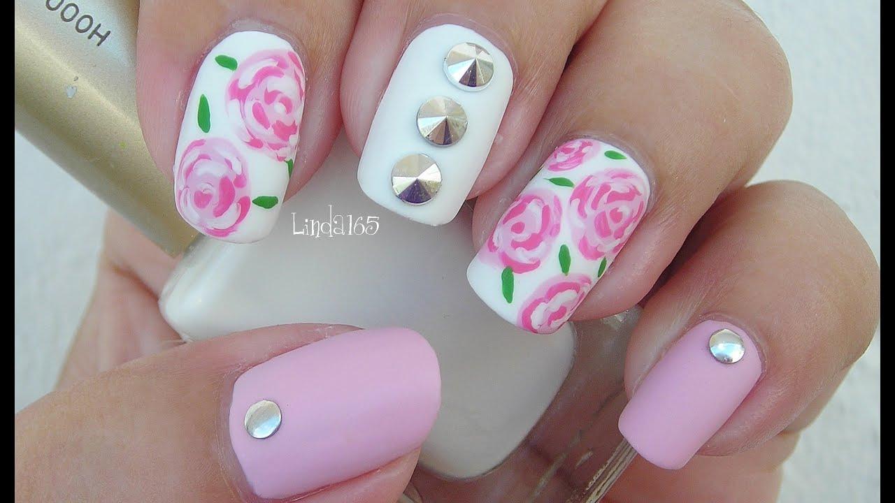 Nail Art - Matte Roses and Spikes - Decoracion de Uñas - Linda165 ...