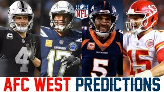 AFC West Predictions 2019 (NFL Predictions 2019) Broncos Chargers Chiefs Raiders Predictions
