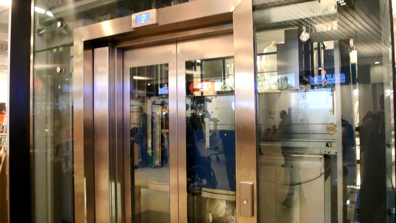 2009 kone monospace  u0026 2004 otis gen2 mrl traction glass elevators   nordby shoppingcenter
