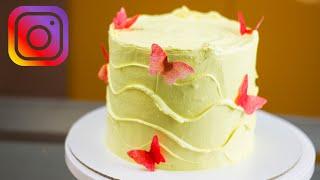 УКРАШЕНИЕ ТОРТА НАБИРАЮЩЕЕ ПОПУЛЯРНОСТЬ В INSTAGRAM Как украсить торт без навыков выравнивания