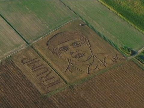 Raw: Giant Trump Portrait in Italian Field