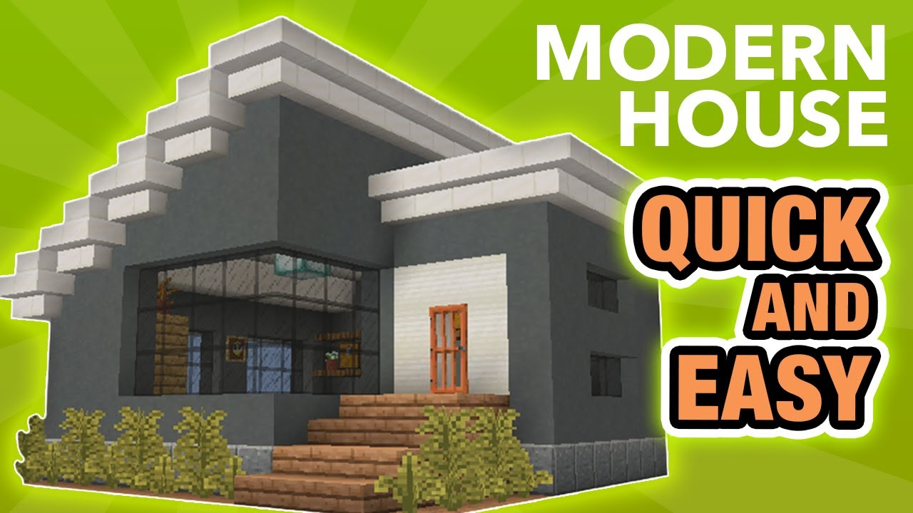 Minecraft How To Build A Small Modern House Building Tutorial Youtube