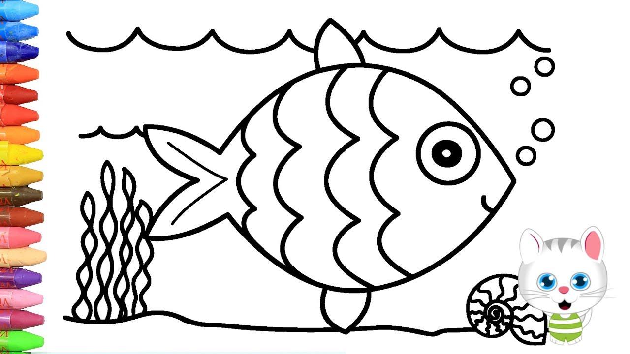 Cómo Dibujar Y Colorear El Pescado Dibujos Para Niños Con Mimi
