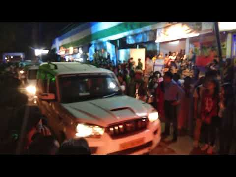 Namami Barak at Silchar Assam Chief Minister Sarbananda Sonowal with tied security passing in road