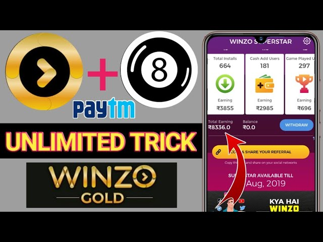 Winzo Gold Unlimited Trick    Get ₹40 Per Refer Free Paytm