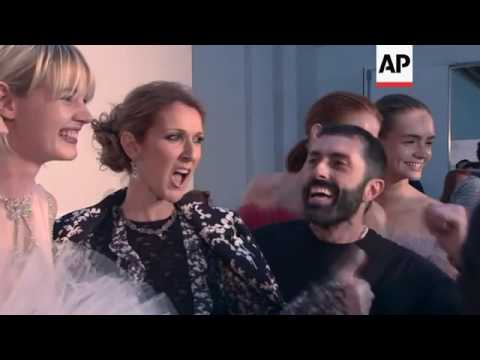"""Celine Dion sits front row at Giambattista Valli couture fashion show in Paris; says she's """"speechle"""