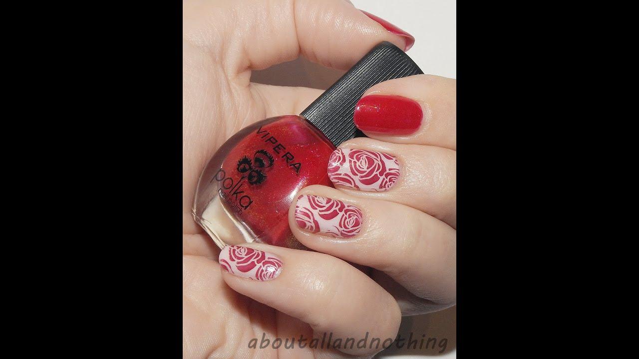 Klasyczne Zdobienie Paznokci Czerwone Roze Nail Art Red Roses