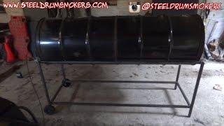 الصلب طبل المدخن شواء مزدوجة برميل الشواية بناء - الجزء 1