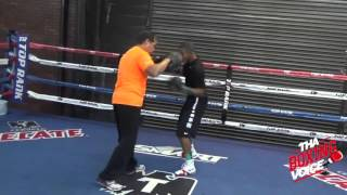 Felix Verdejo Pad Work at Top Rank Gym