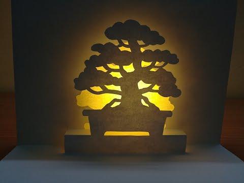 3d Bonsai | Pop up Bonsai card | paper art | kirigami | 3d盆景