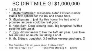 Betting the 2009 Breeder's Cup Pick 6