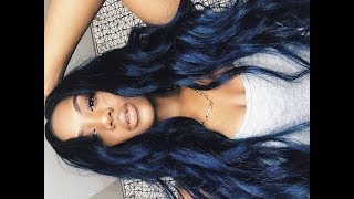 THE DYE I USED IS FROM ADORE CALLED ROYAL NAVY! Peruvian Body Wave ...