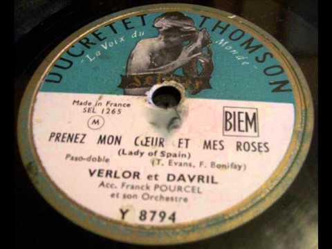 """Verlor et Davril """" prenez mon coeur et mes roses """"1953"""