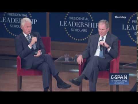 Presidents George W. Bush and Bill Clinton At Bush Library 7/13/2017