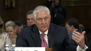 Rex Tillerson hits Russia at Senate hearing