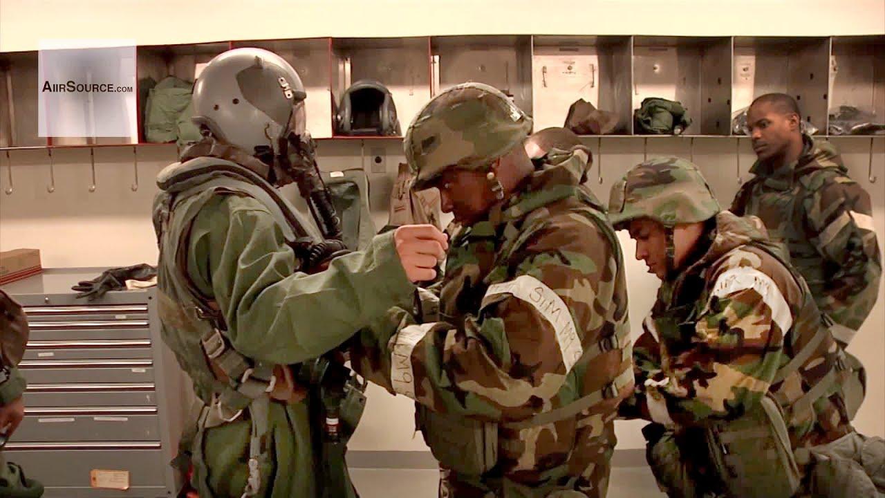USAF Pilots Donning MOPP gear at Osan Air Base, South ...