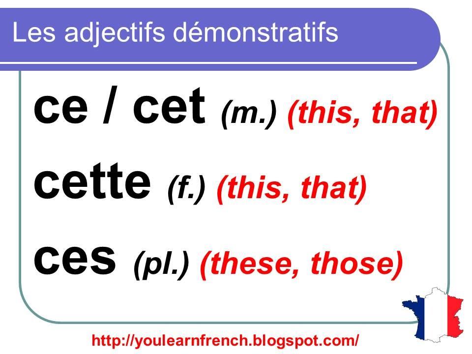 Резултат слика за adjectifs démonstratifs