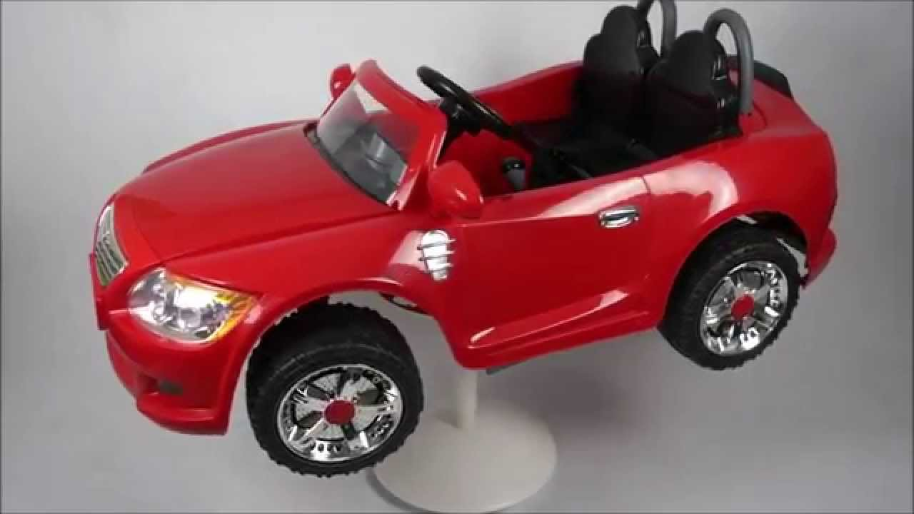 storm red coupe 2 seater kids electric car 360 degree view