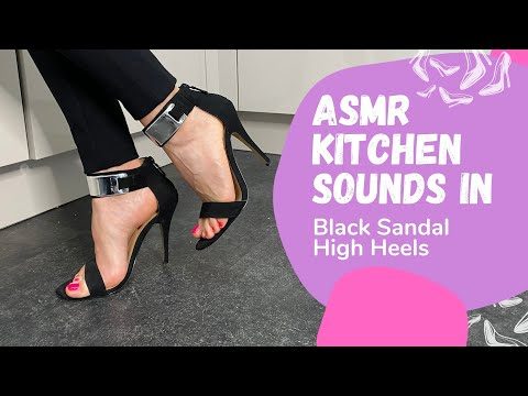 Black Sandal High Heels | Cooking & Walking | by Lady Kim