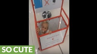Baby boy hides out in airport luggage box