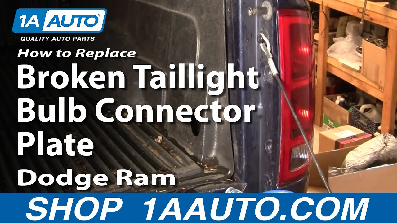 How to replace repair install broken taillight bulb connector plate dodge ram 02 08 1aauto com youtube