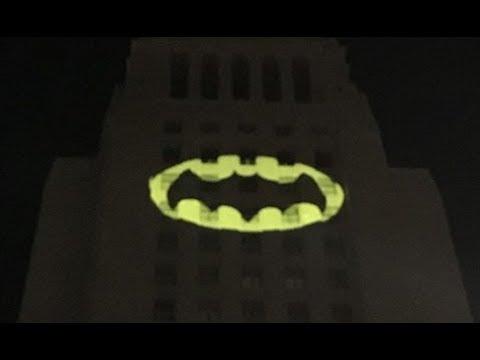 Los Angeles City Hall Tribute to 1966 Batman Adam West
