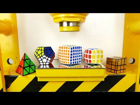 Hydraulic Press VS Rubik Cubes! V-cube, Pyraminx, Megaminx,