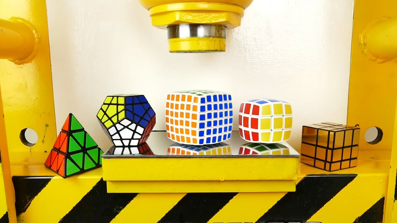 Hydraulic Press VS Rubik Cubes! V-cube, Pyraminx, Megaminx, Mirror Cube, Golden Cube image