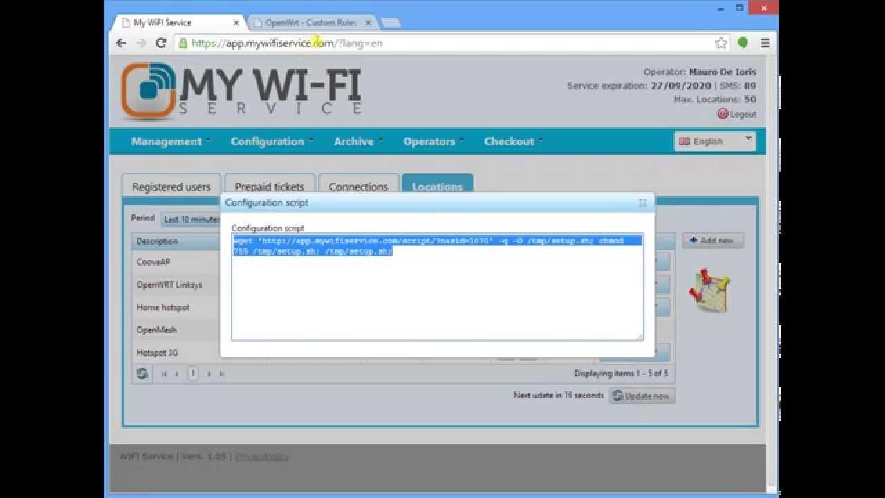 Run Hotspot configuration script from OpenWrt LUCI Web