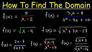 How To Find The Domain of a Function - Radicals, Fractions & Square Roots - Interval Notation