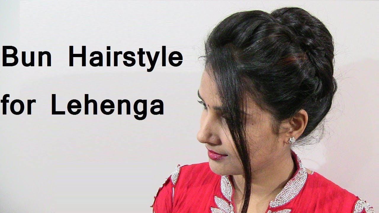 Easy And Cute Bun Hairstyle For Lehenga For Girls Party Wedding