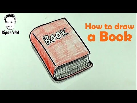 how to draw a book easy