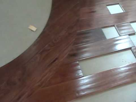 Wood radius cut into a wood floor youtube - Wallpapering around a curved corner ...