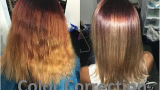 Brassy Red Hair to Beautiful Color Melt | Color Correction | Hair Coloring Tutorial
