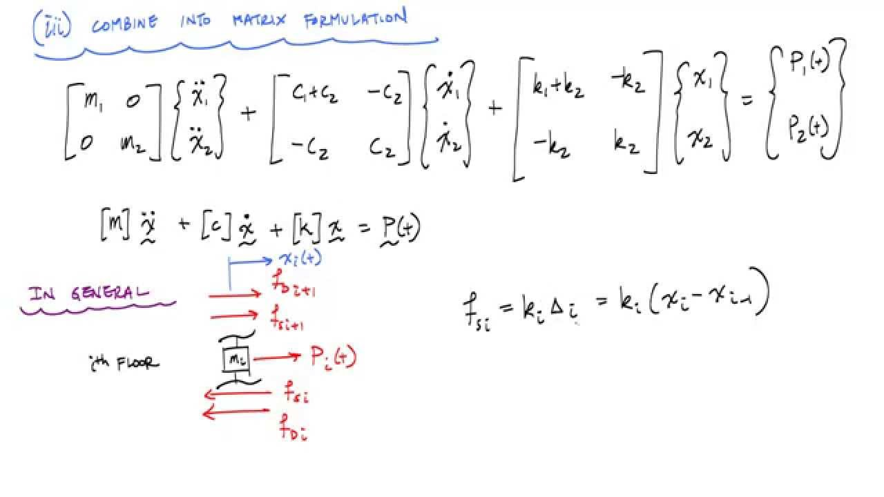 Equation Of Motion Of  Dof Shear Building Model