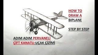 Uçak Çizimi / Çift Kanatlı Uçak Çizimi / Adım Adım Pervaneli pır pır Uçak çizimi