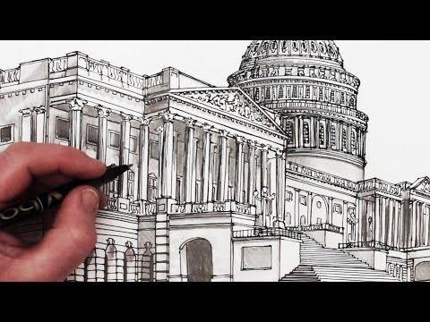 How to Draw the US Capitol Building: Time Lapse Drawing