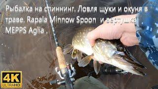 Рыбалка на спиннинг Ловля щуки и окуня в траве Rapala Minnow Spoon и вертушка MEPPS Aglia