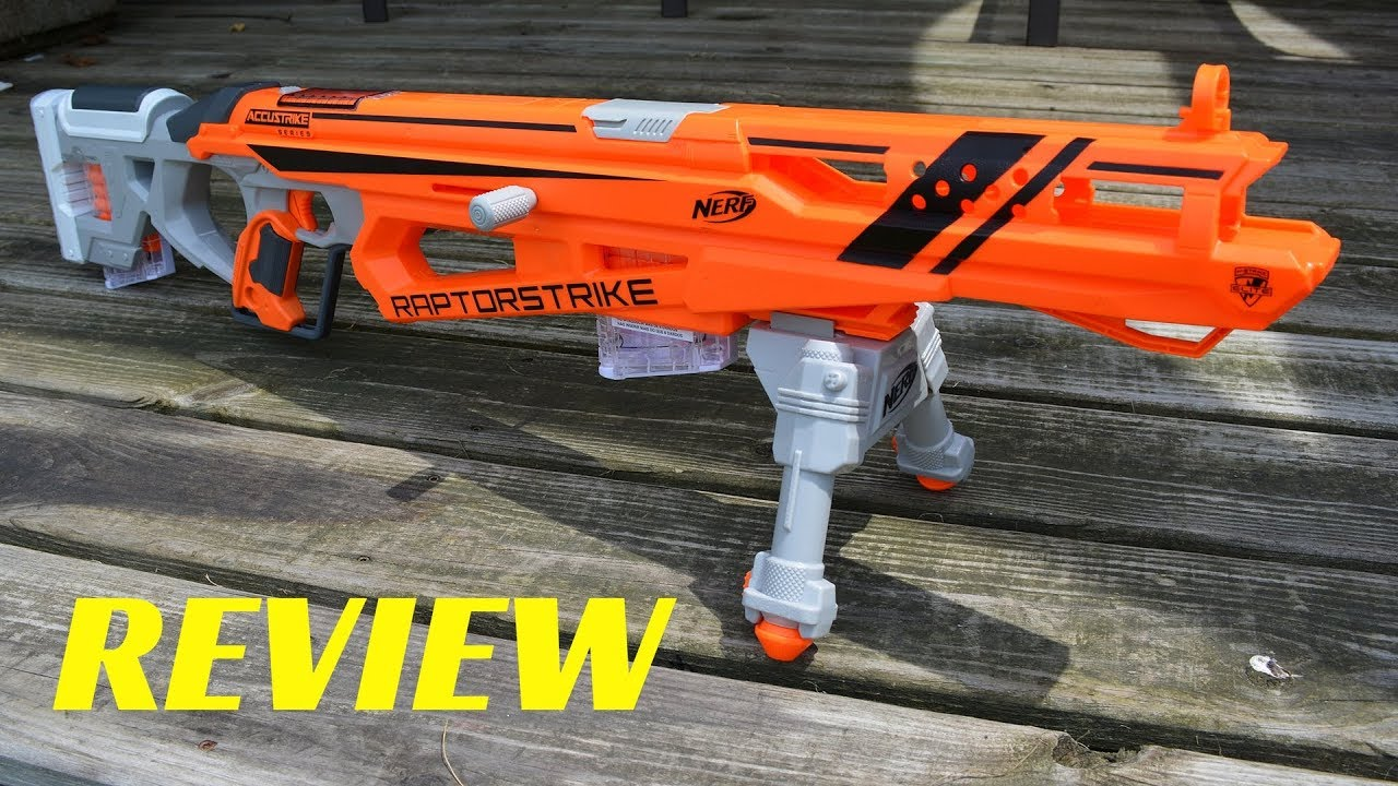 [Review] Nerf Accustrike Raptorstrike (with Unboxing, FPS and Range Tests)