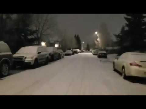 Calgary Night Drive | Night Snow and Weather in Canada | Heavy Snow on Roads