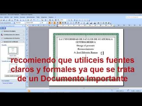 Hacer un Diploma o un Reconocimiento en Publisher