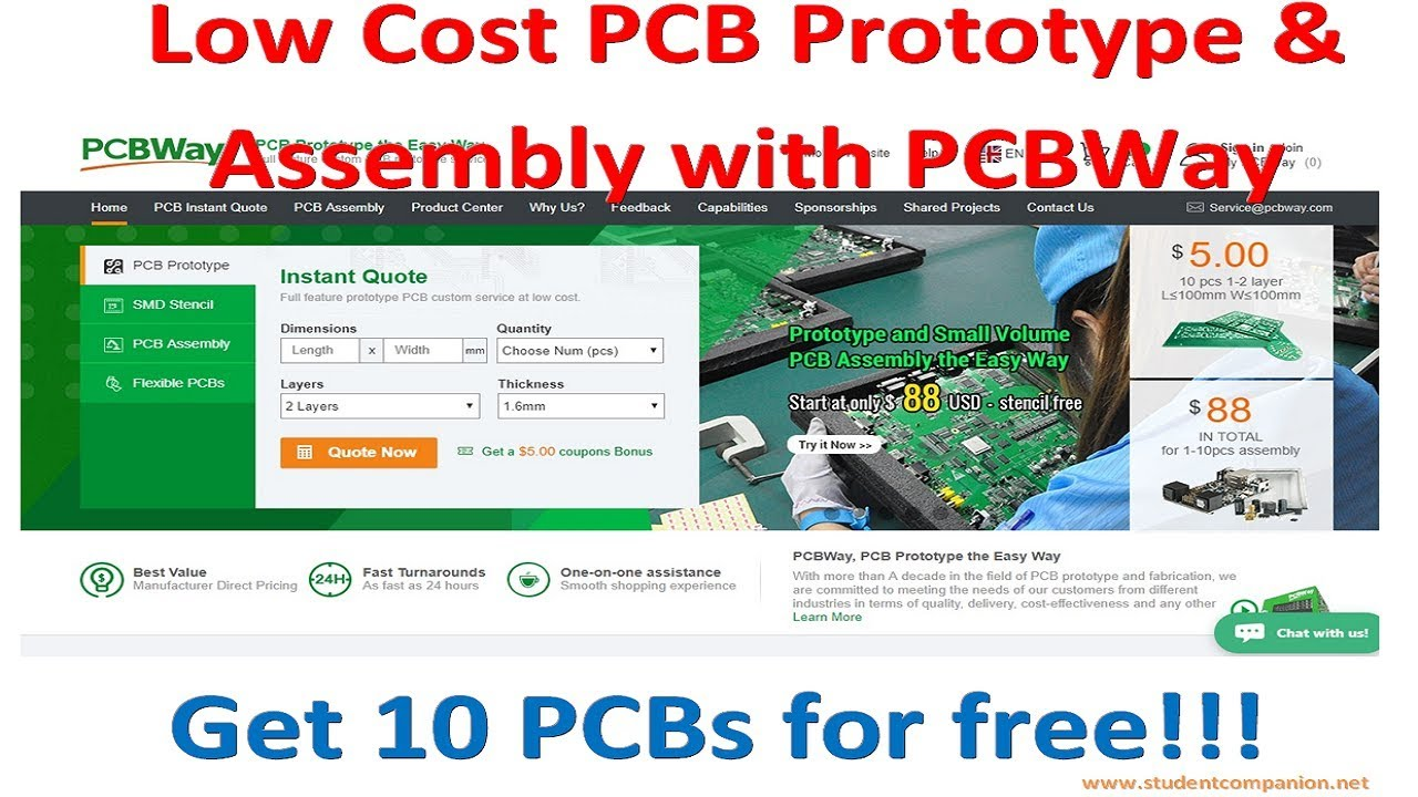 Low Cost PCB Prototype and Assembly with PCBWay | StudentCompanion